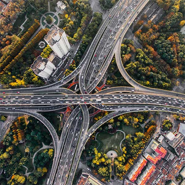 Aerial view of city highway roads